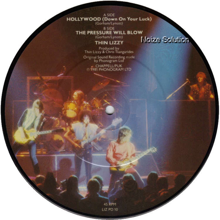 Thin Lizzy Hollywood, 7 inch vinyl Picture Disc record side b.