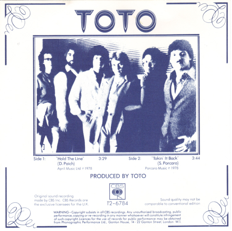 Toto - Hold The Line Insert Front.