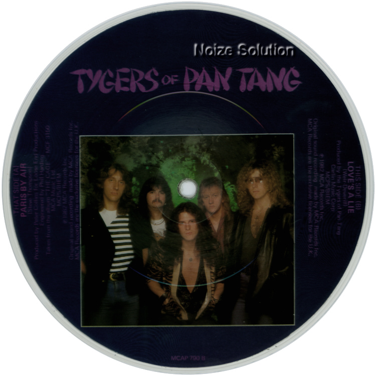 Tygers of Pan Tang - Paris By Air 7 inch vinyl Picture Disc Record Side 2.