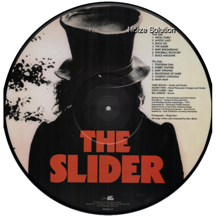 MARC BOLAN AND T.REX - The Slider, vinyl LP Picture Disc record side 2.