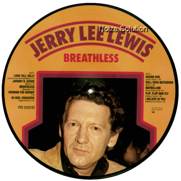 Jerry Lee Lewis - Breathless, vinyl LP Picture Disc record Side 1.
