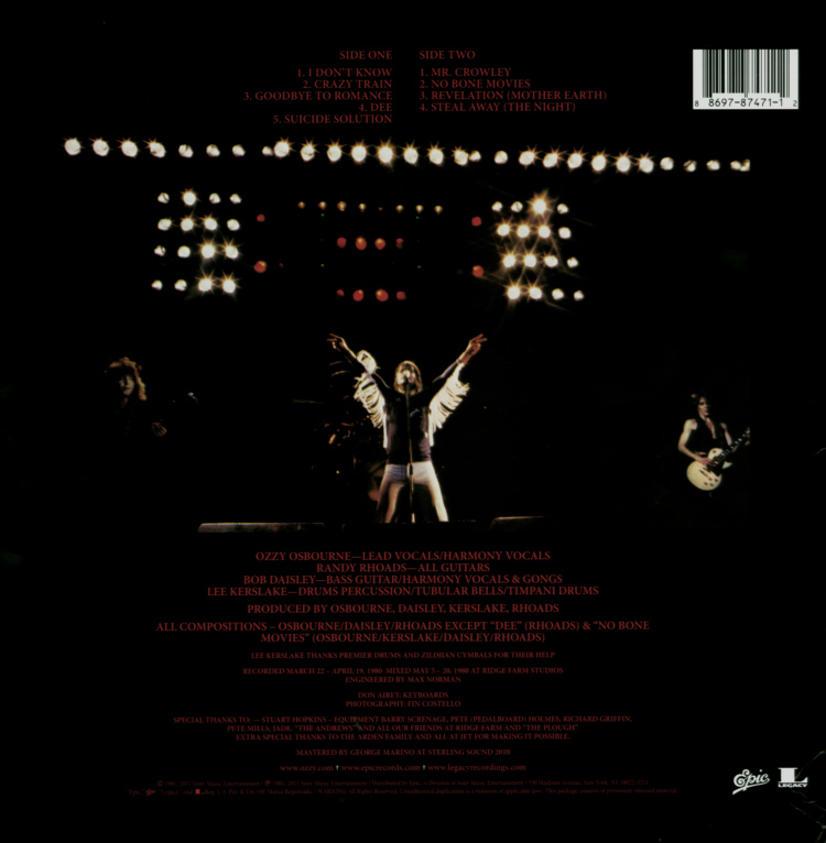 Ozzy Osbourne - Blizzard Of Ozz Die Cut Sleeve Front.