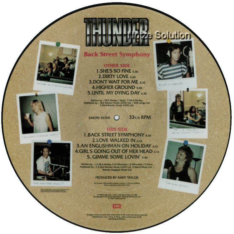 Thunder Back Street Symphony LP vinyl Picture Disc Record Side 2.