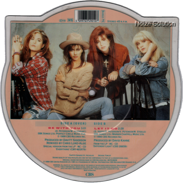 Bangles - Be With You shaped vinyl Picture Disc Record Side 2.