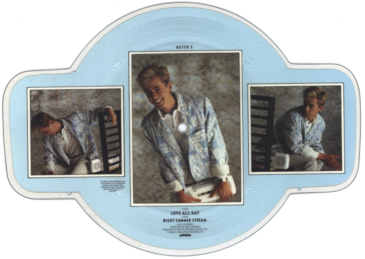 Nick Heyward Love All Day shaped vinyl Picture Disc Record Side 2 NickHeyward.