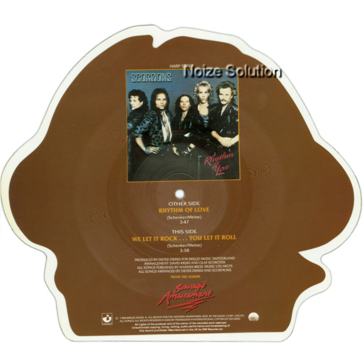 Scorpions Rhythm Of Love shaped vinyl Picture Disc Record Side 2 ScorpionsScorpions.