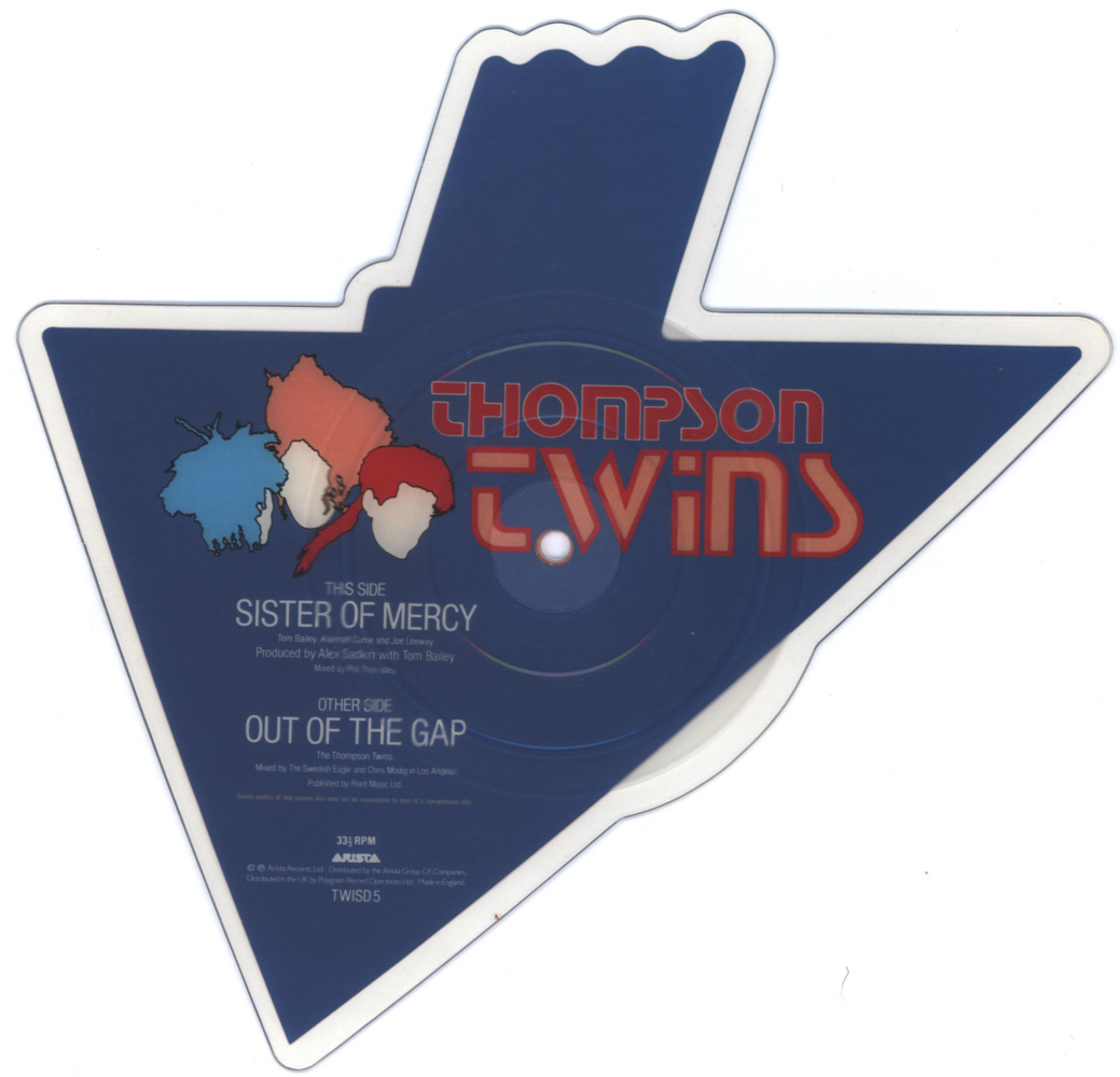 Thompson Twins Sister of Mercy shaped vinyl Picture Disc Record Side 1 ThompsonTwins.