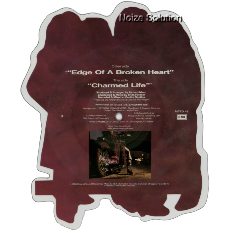 Vixen - Edge Of A Broken Heart vinyl Shaped Picture Disc Record Side 2 VixenVixen.