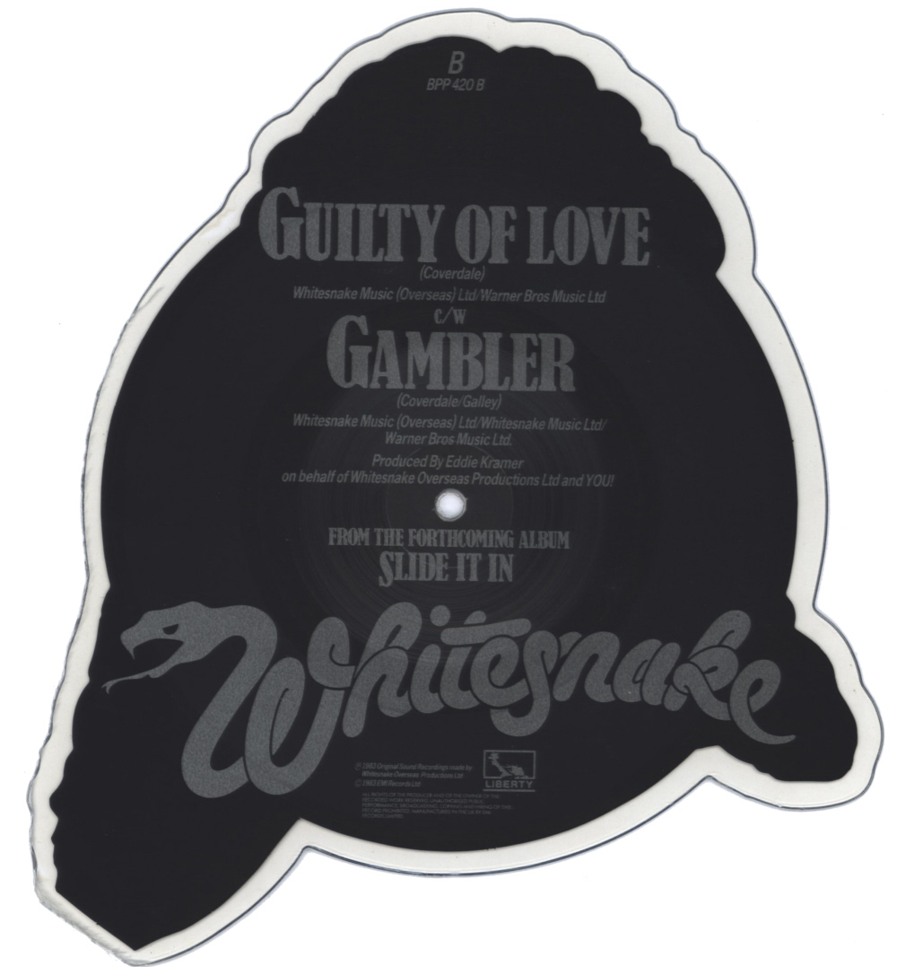 Whitesnake Guilty Of Love shaped vinyl Picture Disc Record Side 2 WhitesnakeWhitesnake.